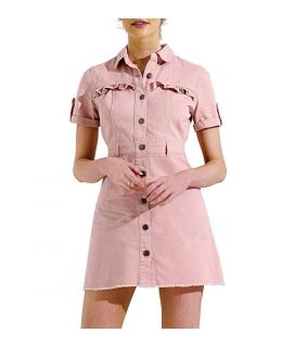 NEW Womens Longline Denim Shirt Dress Ladies Jean Dresses Size 6 8 10 12 14