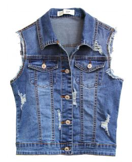 Womens Denim Waistcoat with Distressed Detailing, UK Sizes 8 to 14