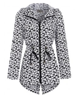 Womens Heart Print Showerproof Raincoat Jacket, Black White, UK Sizes 8 to 16