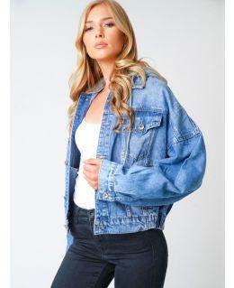 Womens Oversized Jersey Hooded Denim Jacket,  Sizes 6 to 14