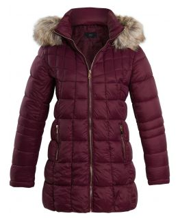 Womens Puffer Parka Coat with Faux Fur Hood, Wine, UK Sizes 6 to 14