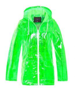 Womens Waterproof Holographic Raincoat, Neon Pink, Neon Green, Peach, UK Sizes 8 to 16