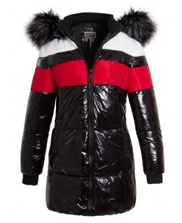 Womens High shine Wet Look Bubble Faux Fur Parka Coat, Black - Red, UK Sizes 8 to 16