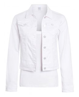 Womens Slim Fit Stretch Denim Jacket, White, UK sizes 8 to 16