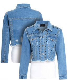Womens Studded Cropped Denim Jacket, Denim Blue, UK Sizes 8 to 14
