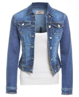 Womens Plus Size Stretch Denim Jacket, Stonewash Blue, UK sizes 16 to 24