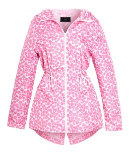 Womens Pink Heart Showerproof Raincoat, UK Sizes 8 to 16