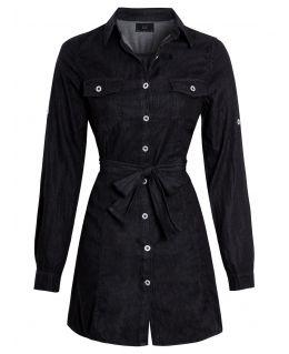 Womens Casual Fit Denim Shirt Dress, Black, UK sizes 8 to 16