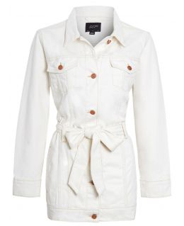 Womens Semi Oversized Girlfriend Denim Jacket, Ecru, UK Sizes 8 to 16