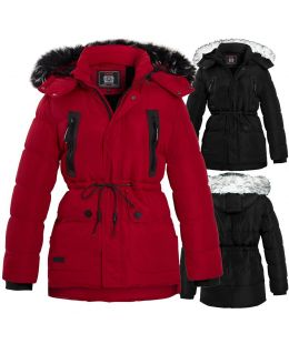 Boys Fleece Lined Padded Parka Coat, Black, Red, Ages 5 to 16 Years