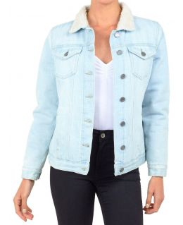 Womens Borg Lined Denim Jacket, UK Sizes 8 to 16