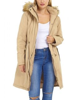 Womens Parka Coat with Faux Fur Fleece hood, Stone, Khaki, UK Sizes 8 to 16
