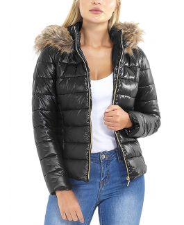 Womens Wet Look Puffer Jacket with Faux Fur, Purple, Black, Sizes 8 to 16