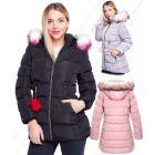 Girls Padded Coat Showerproof Parka Jacket Faux Fur Age 3 5 7 8 9 10 11 12 13 14 Black