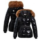 Womens Wet Look Puffer Coat with Faux Fur, Sizes 8 to 16