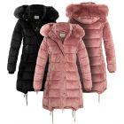 Womens Velvet Puffer Faux Fur Coat, Pink, Black, Sizes 8 to 16
