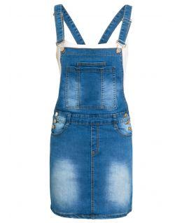 Girls Denim Blue Dungaree Dress, Age 7 to 16 Years