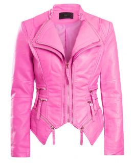 Womens Faux Leather Biker Jacket, Pink, White, Black, Cerise, UK Sizes 8 to 16