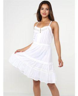Cotton Strappy Vest Dress, white, UK Sizes 8 to 14