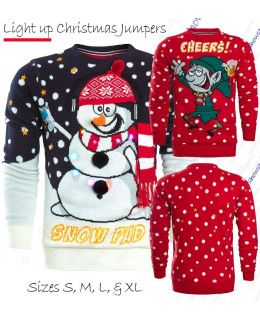 Mens Christmas Jumper LIGHTS Red Elf Xmas Snowman Size S M L XL Green Novelty