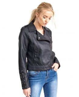 Womens Faux leather Biker Jacket with Lace Sleeves, Sizes 8 to 16