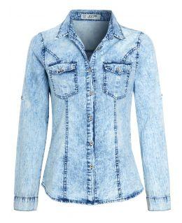 Womens Distressed Acid Denim Cotton Shirt, UK Sizes 8 to 14
