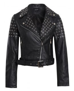 Womens Faux leather Biker Jacket with Eyelets, UK Sizes 8 to 16