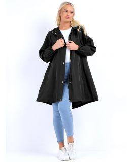 Longline Fully Lined Rain Mac, Black, Khaki, UK Sizes 8 to 16