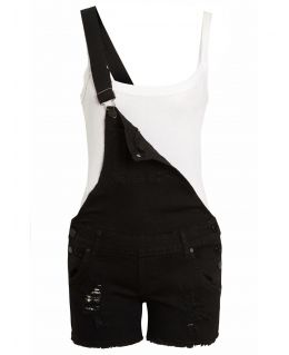 Womens Denim Dungaree Shorts, Black, Uk sizes 4 to 12