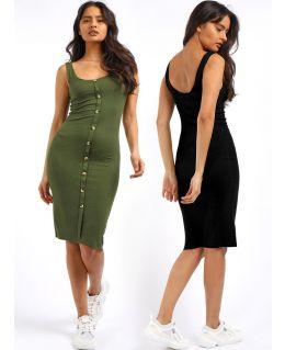 Sleeveless Midi Length Dress, Black, Khaki, UK Sizes 8 to 14