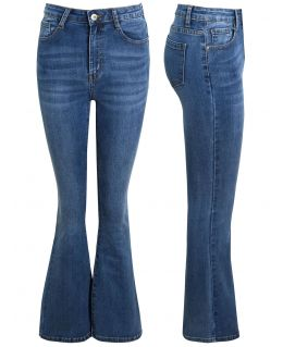 High Waisted Bootcut Flared Denim Jeans, UK Sizes 8 to 14