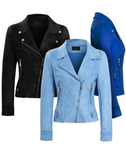 Womens Faux Suede Biker Jacket, Pale Blue, Cobalt, Black, Fuchsia, UK Sizes 8 to 18