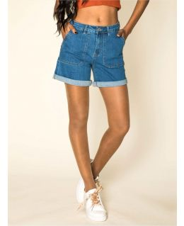 Womens Denim High Waist Patch Pocket shorts, UK Sizes 8 to 14