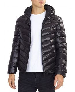 Boys Bubble Puffer Jacket, Black Shine, Ages 7 to 13 Years