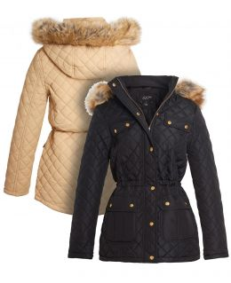 Diamond Quilted Faux Fur Parka Jacket, Stone, Black, UK Sizes 8 to 16