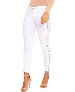 Mid Rise Eyelet Lace up Skinny Jean