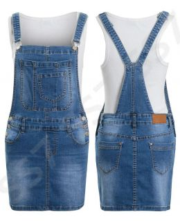 Womens Denim Dungaree Skirt, Denim Blue, Sizes 6 to 14