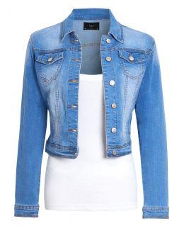 Womens Stonewash Stretch Denim Jacket, Uk Sizes 8 to 16