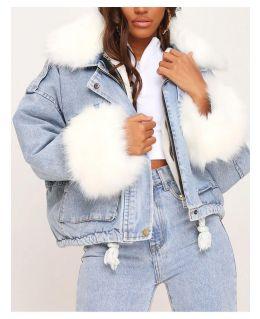Womens Oversized Faux Fur Denim Jacket. UK Sizes 8 to 16