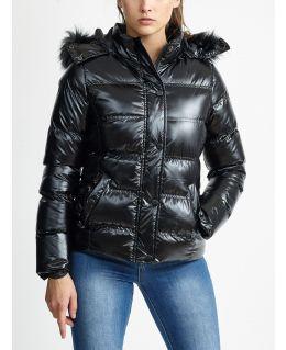 Womens Wet Look Bubble Faux Fur Coat, UK Sizes 8 to 16