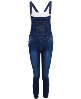 Girls Slim Fit Stretch Dark Denim Blue Dungarees, Ages 7 to 16 Years
