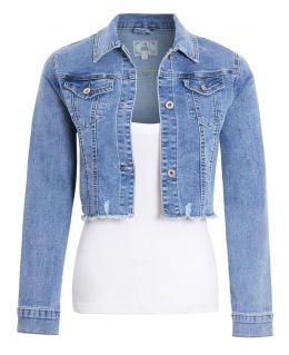 Womens Cropped Stretch Denim Jacket with Raw Hem, UK Sizes 6 to 14