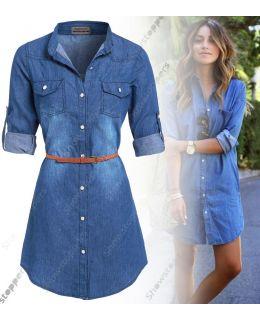 Womens Plus Size 16 - 24 Longline Denim Shirt Dress Ladies Jean Dresses 18 20 22 24