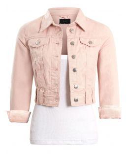 Womens Cropped Pale Pink Denim Jacket, UK Sizes 6 to 16