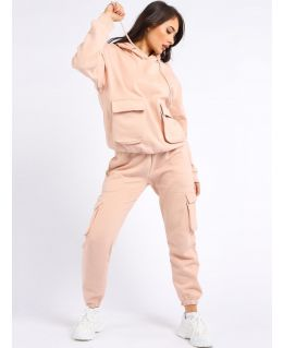 Womens 2 piece loungewear jersey sweatshirt tracksuit, Peach, Black, Grey, UK Sizes 8 to 14