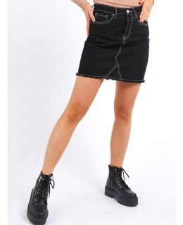 Womens Denim Mini A Line skirts with Raw Hem, Black, UK Sizes 8 to 14