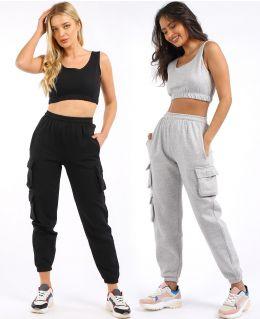 Crop Vest 2 piece loungewear tracksuit, Black, Grey, UK Sizes 6 to 14