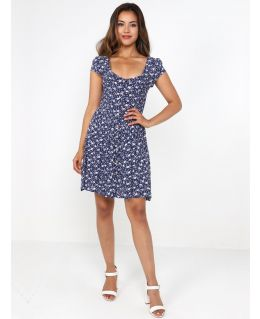 Shirred Bust Floral Crinkle Dress, Navy White, UK Sizes 8 to 14