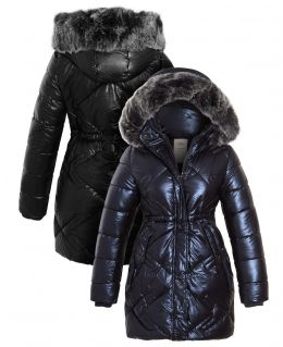 Girls PU Shine Padded Parka Coat, Black, Navy, Ages 3 to 14 Years