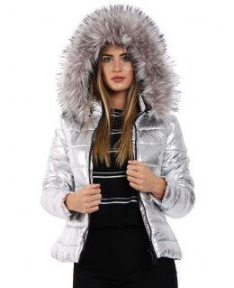 Womens Metallic Silver Puffer Jacket, UK Sizes 8 to 16
